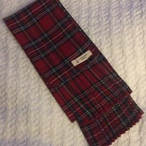 Lands End Kids plaid scarf with pleats on both end